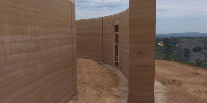 Curved Rammed Earth Tea House